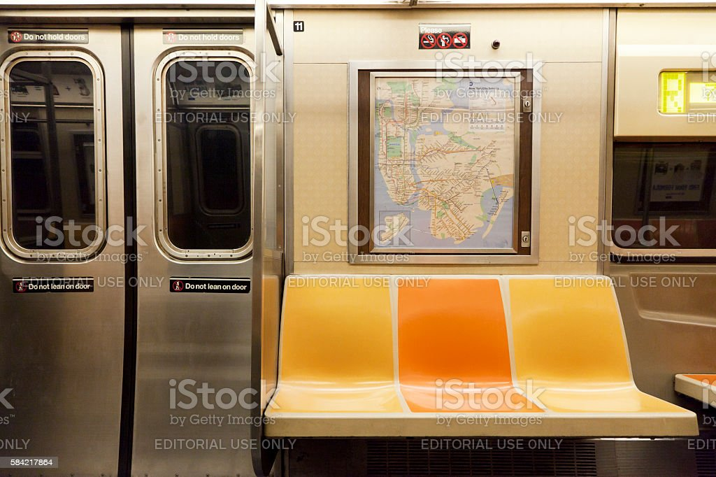 Inside of subway wagon in New York stock photo