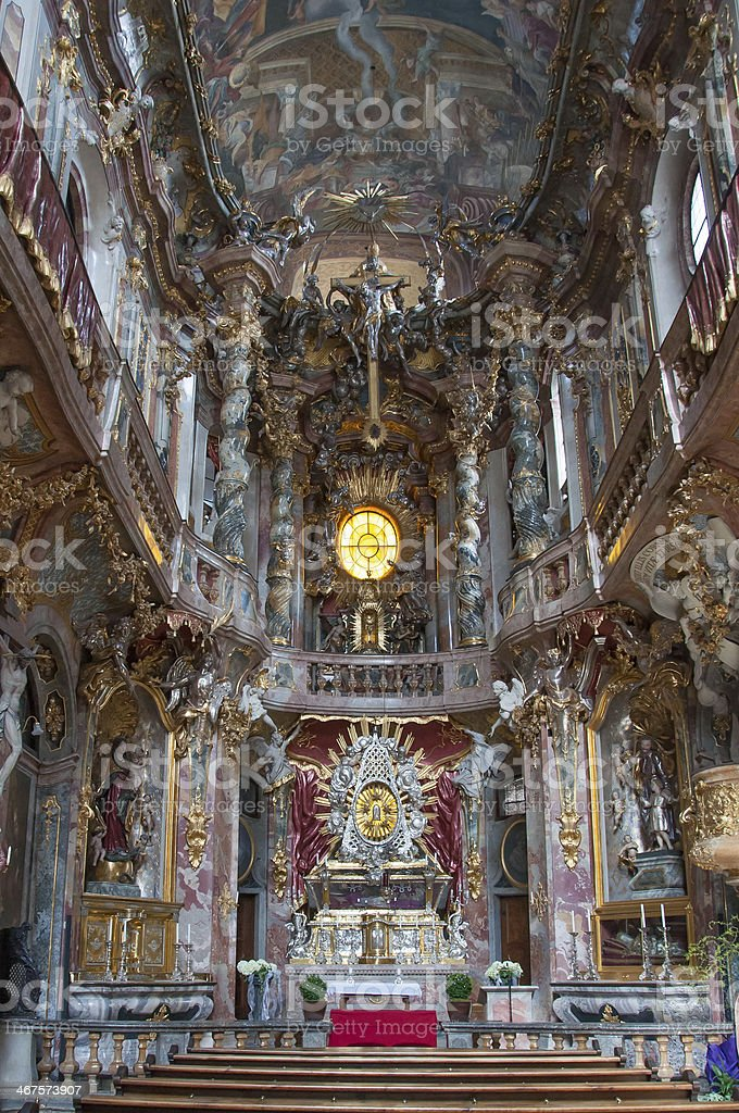 Inside of the Asamkirche Church, Munich, Germany stock photo