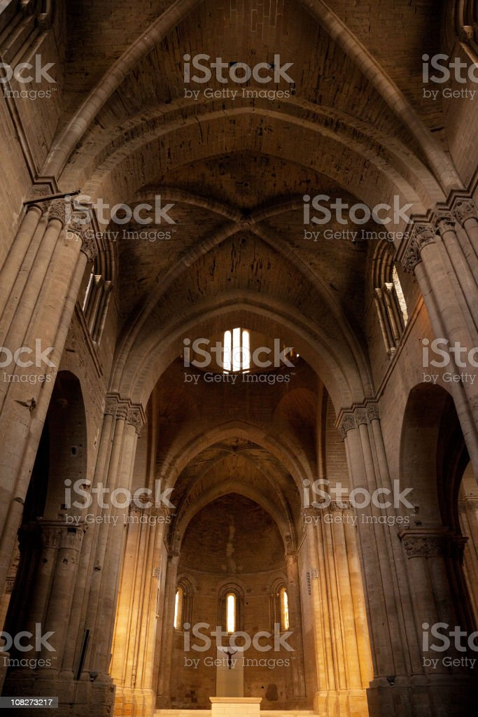 Inside of the Cathedral La Seu Vella royalty-free stock photo