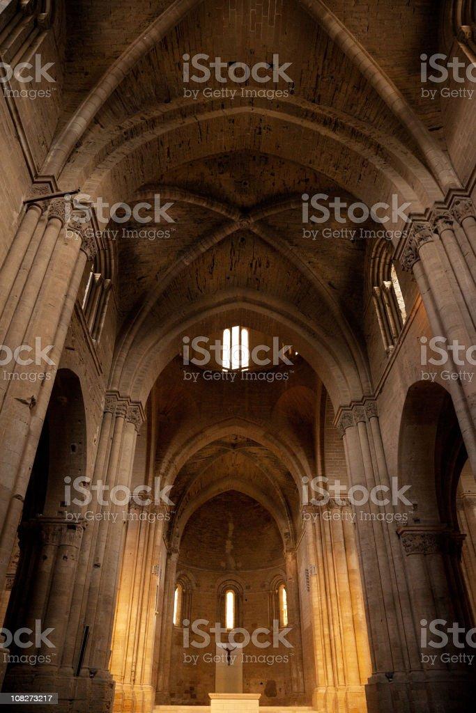 Inside of the Cathedral La Seu Vella stock photo