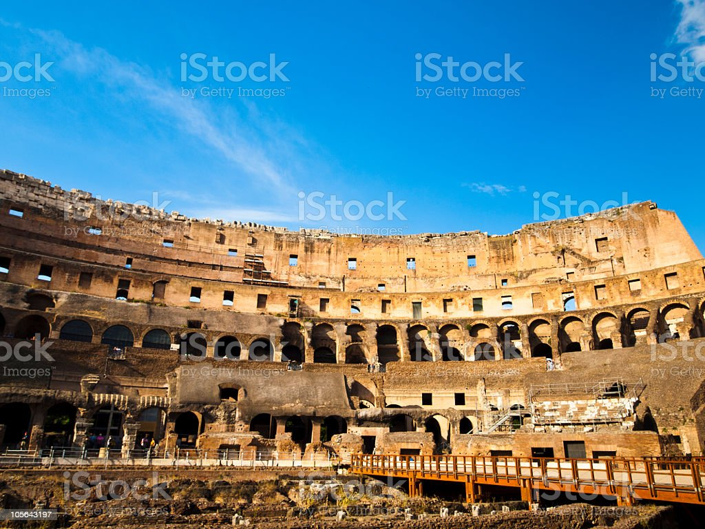 inside of the  Colosseum royalty-free stock photo
