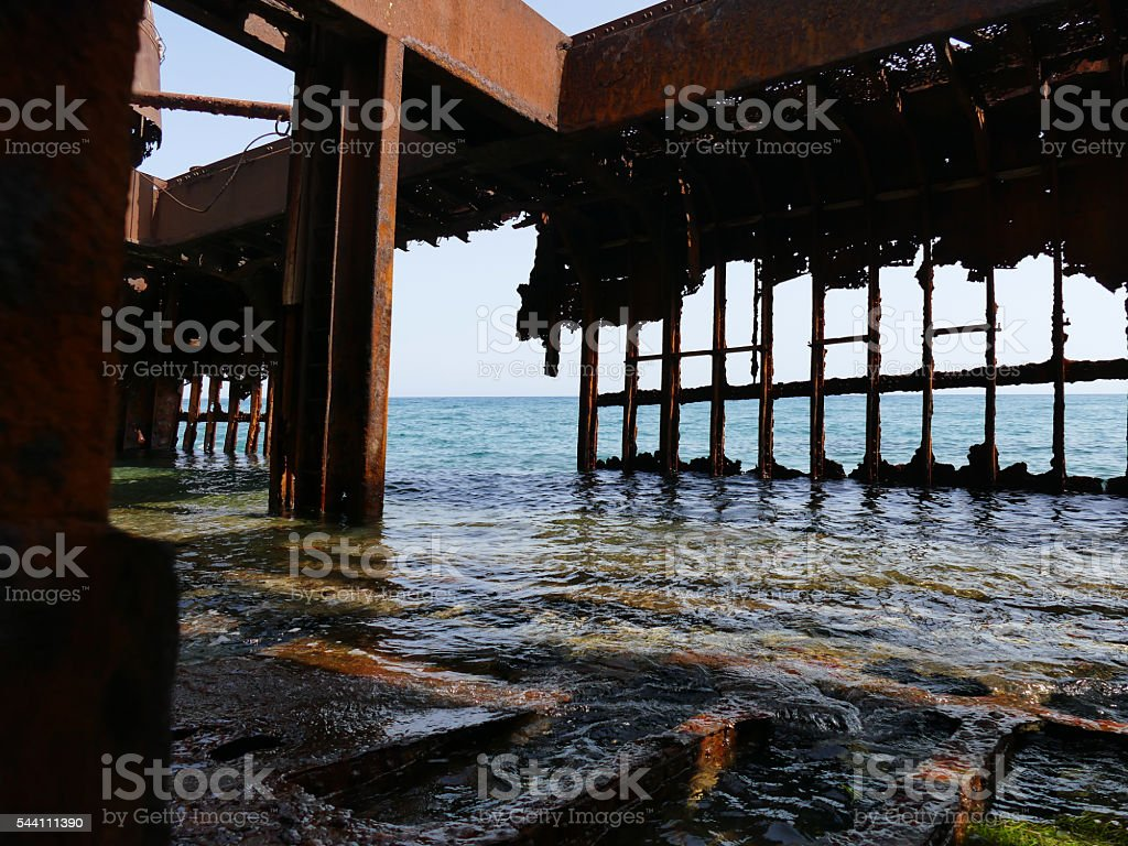 Inside of the Dimitrios shipwreck at Selinitsa beach stock photo