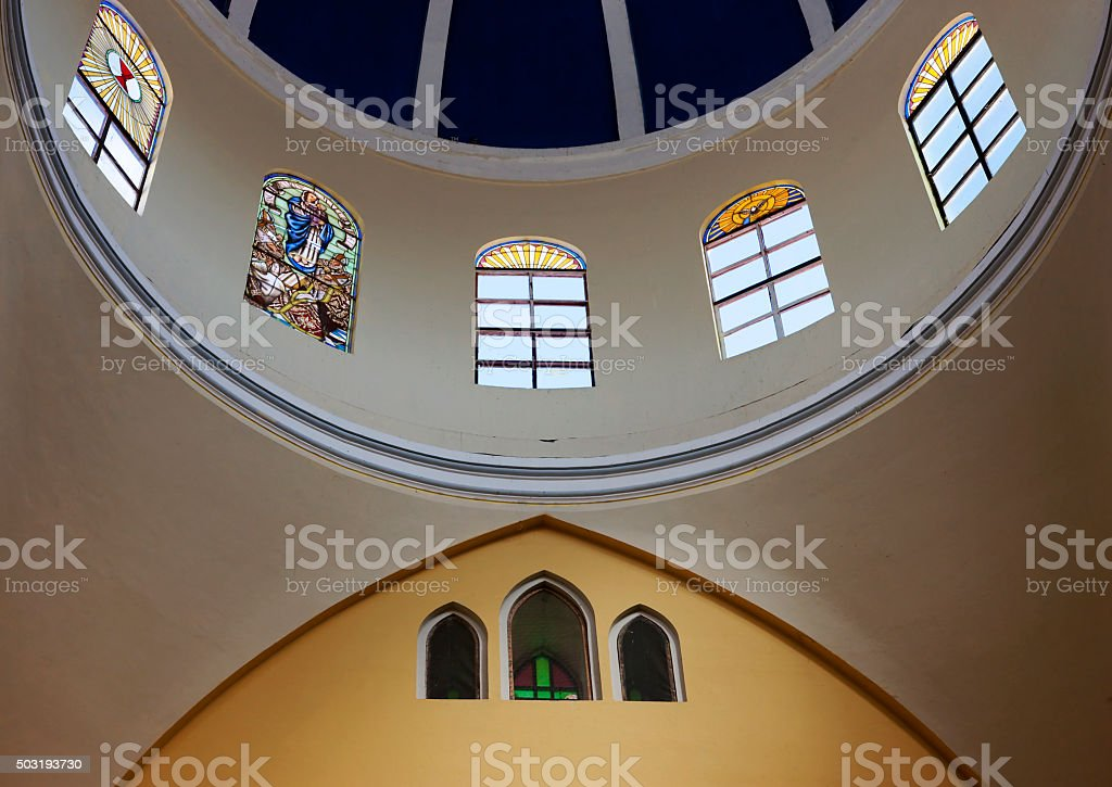 Inside of the Granada Cathedral Nicaragua stock photo