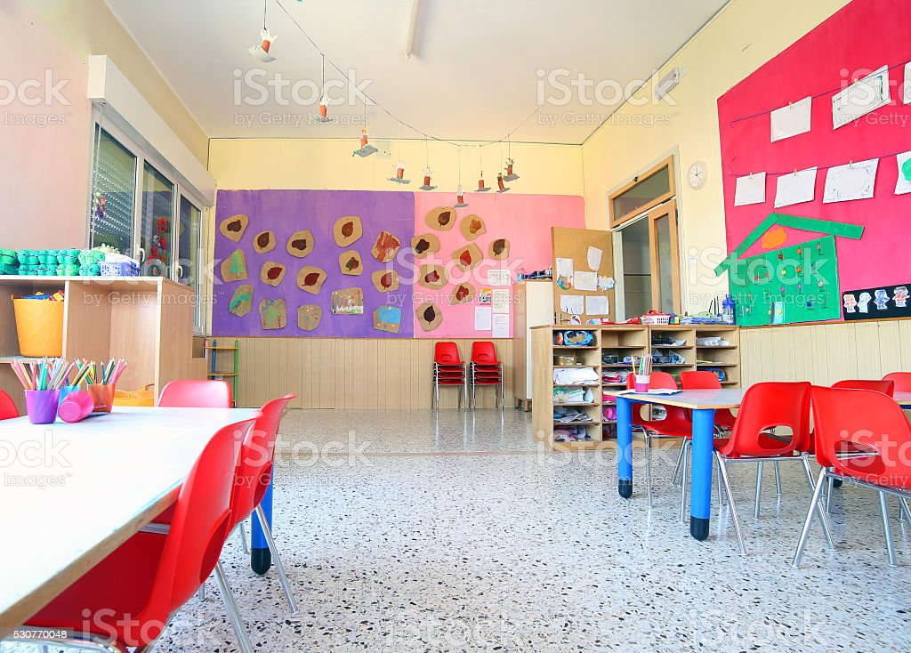 inside of the kindergarten classroom stock photo