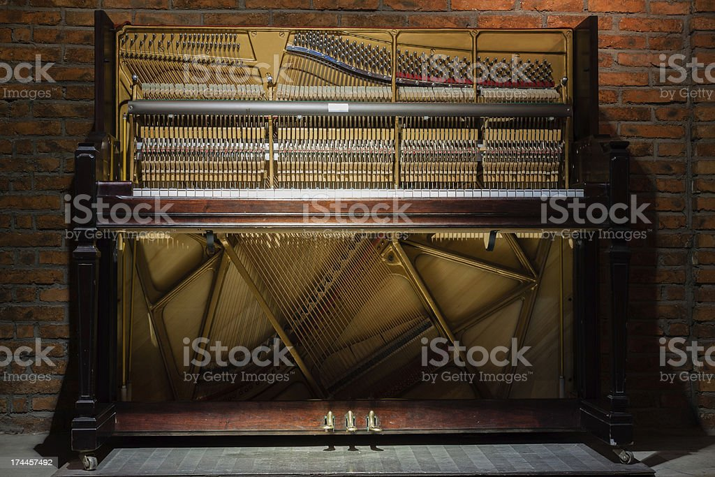 Inside of the piano royalty-free stock photo