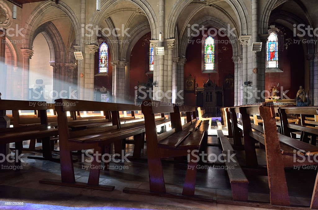 Inside of the Roman Catholic Cathedral stock photo