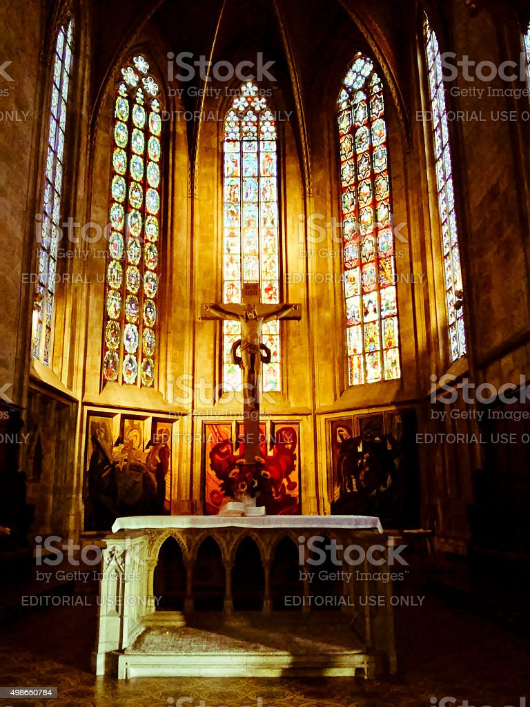 Inside of the Stadtkirche St. Dionys stock photo