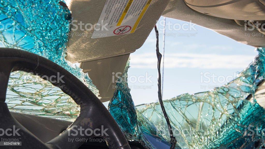 Inside of vehicle after car crash stock photo
