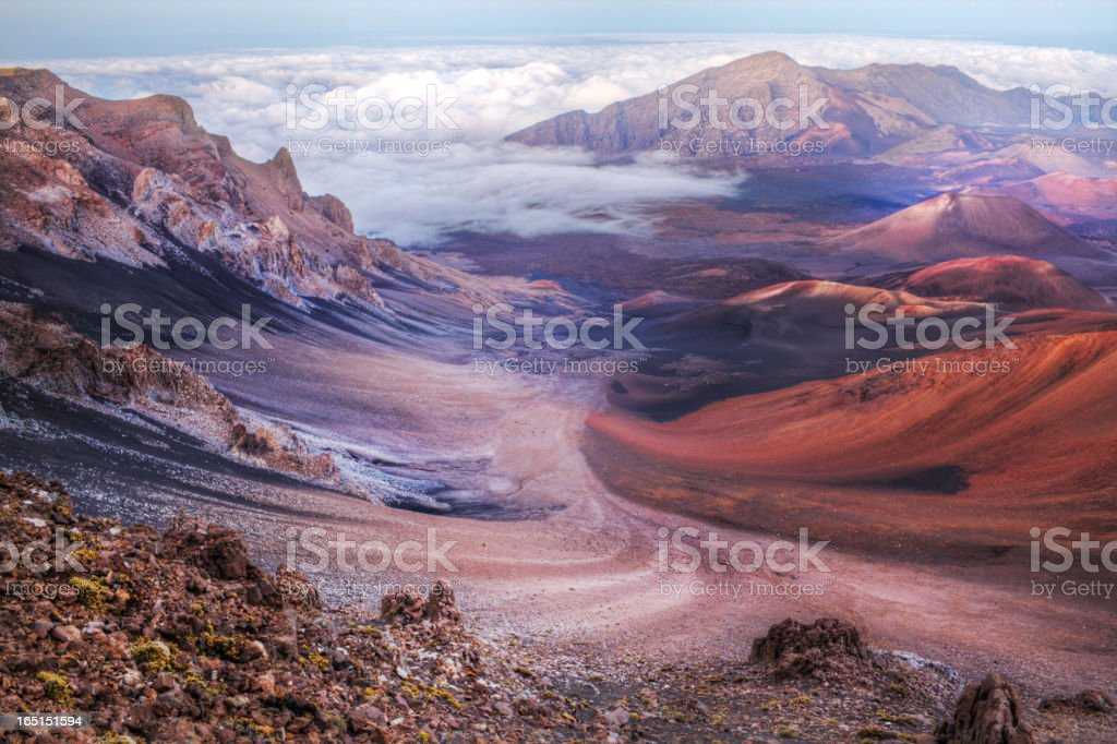 Inside of volcano crater stock photo