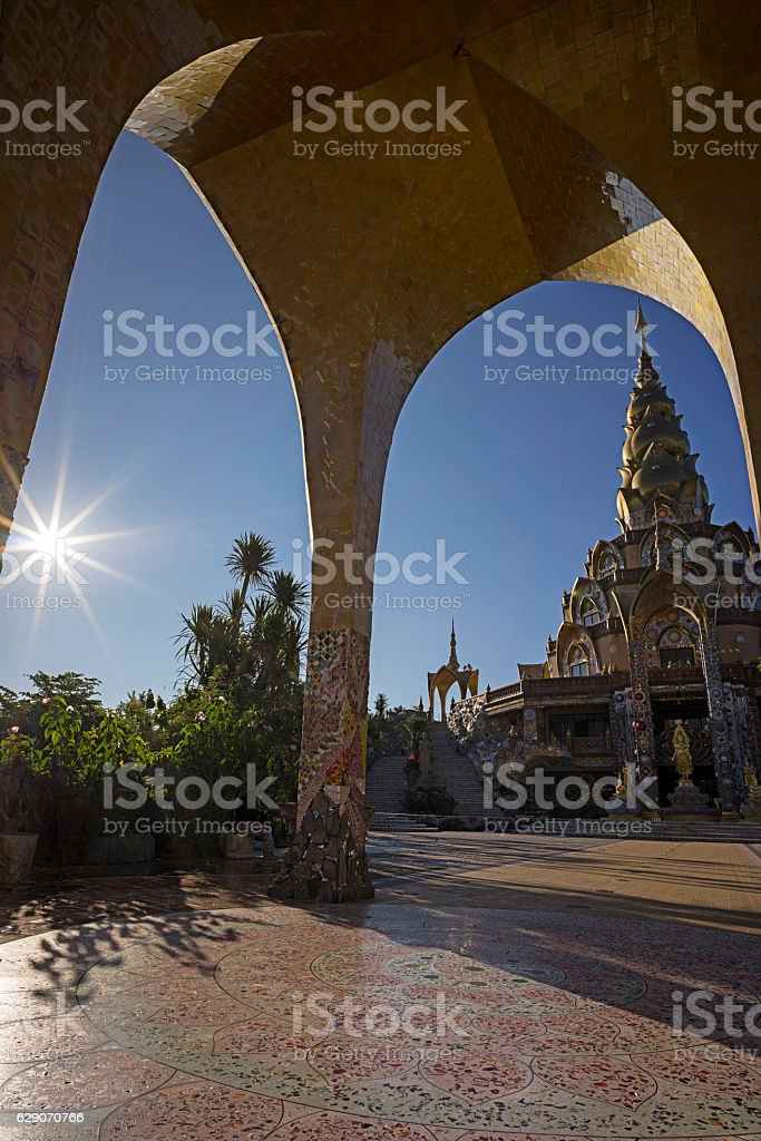 Inside of Wat Pha Sorn Kaew stock photo