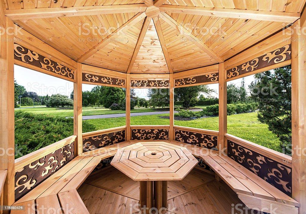 Inside of wooden gazebo stock photo