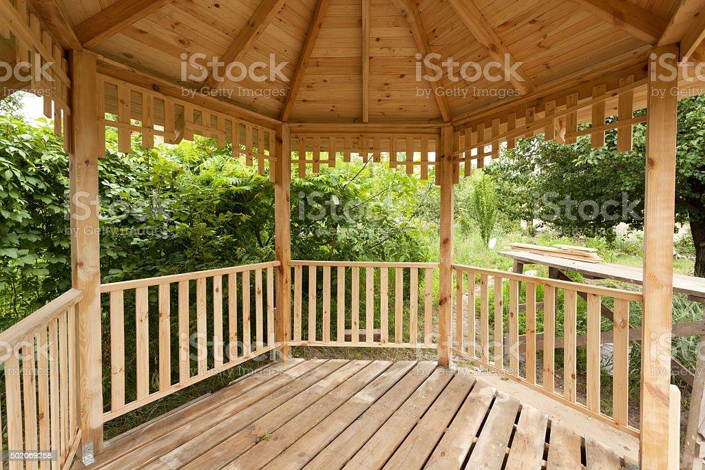 Inside of wooden gazebo under construction stock photo