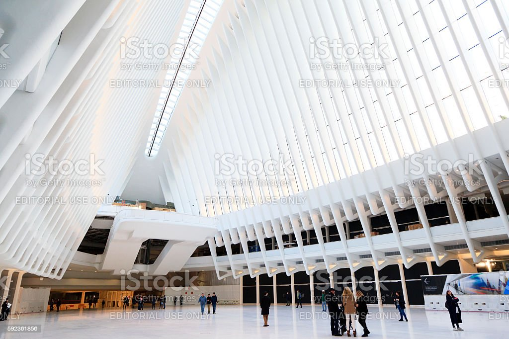 Inside of World Trade Center Transportation Hub stock photo