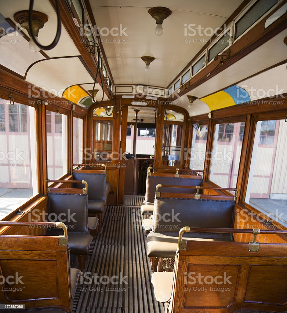 Inside on old tram royalty-free stock photo