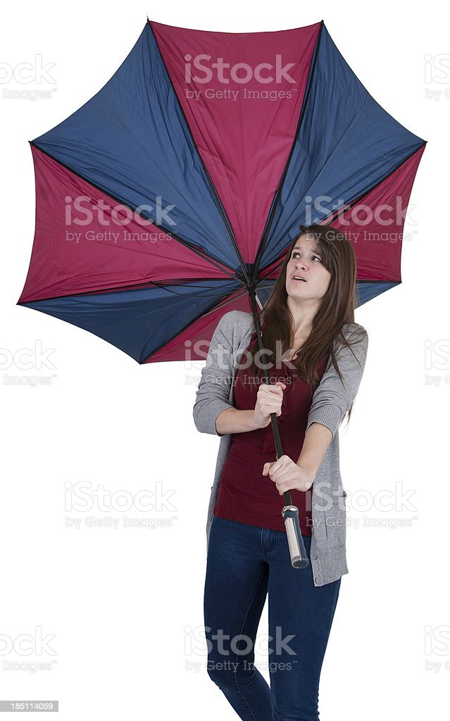inside out umbrella girl stock photo