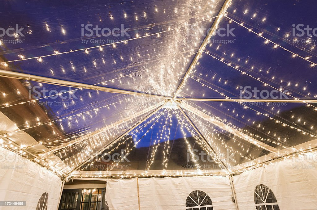Inside Party Tent at Dusk royalty-free stock photo