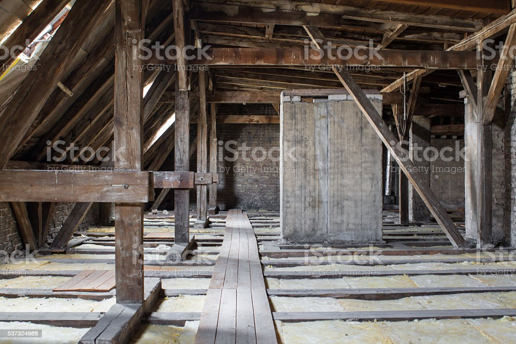 inside roof framework, penthouse before development stock photo