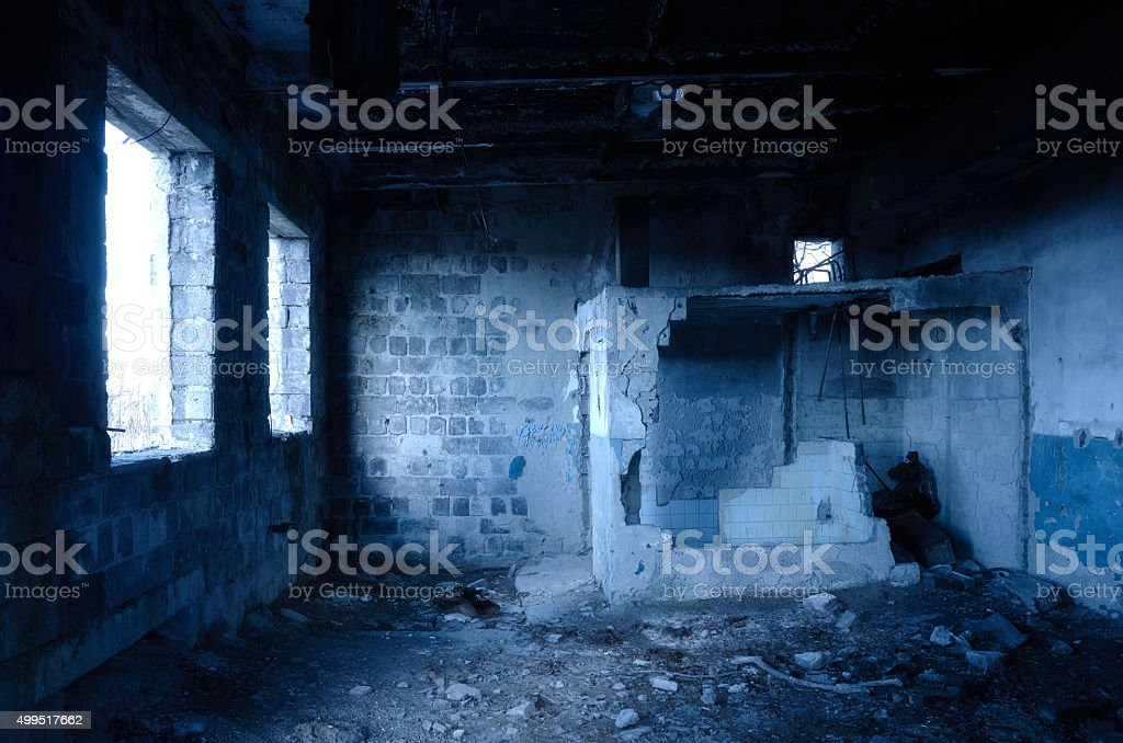 Inside ruined indoor house stock photo