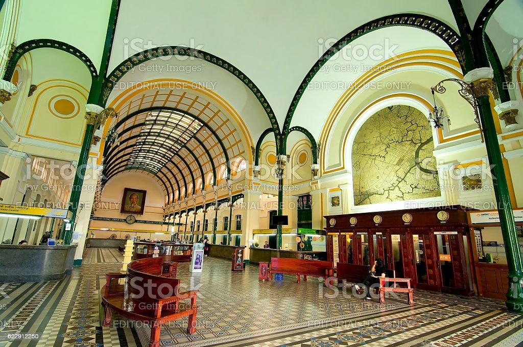 Inside Saigon Central Post Office of Ho Chi Minh, Vietnam stock photo
