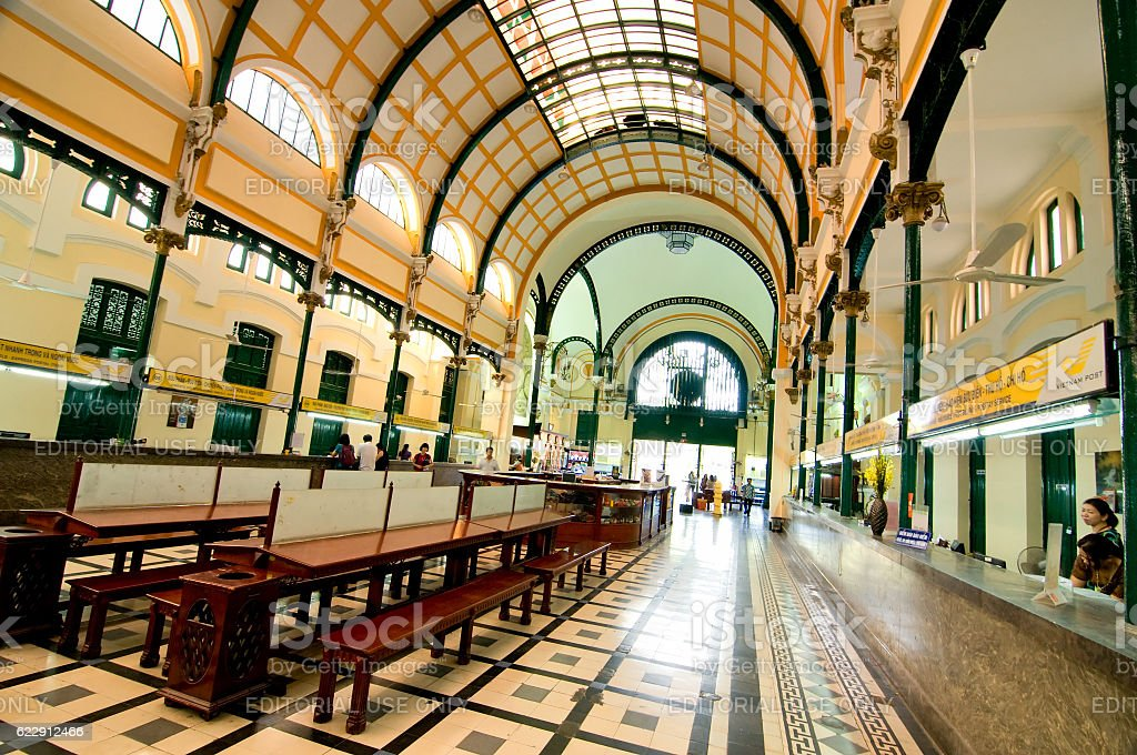 Inside Saigon Central Post Office of Ho Chi Minh, Vietnam stock photo