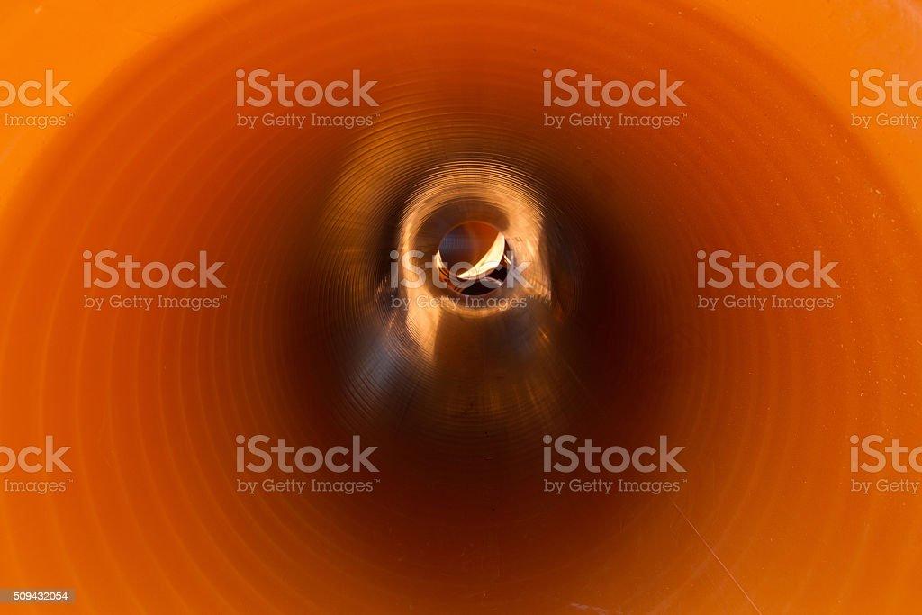 Inside Sewer Pipe - Interior de Tuberia de Alcantarillado stock photo