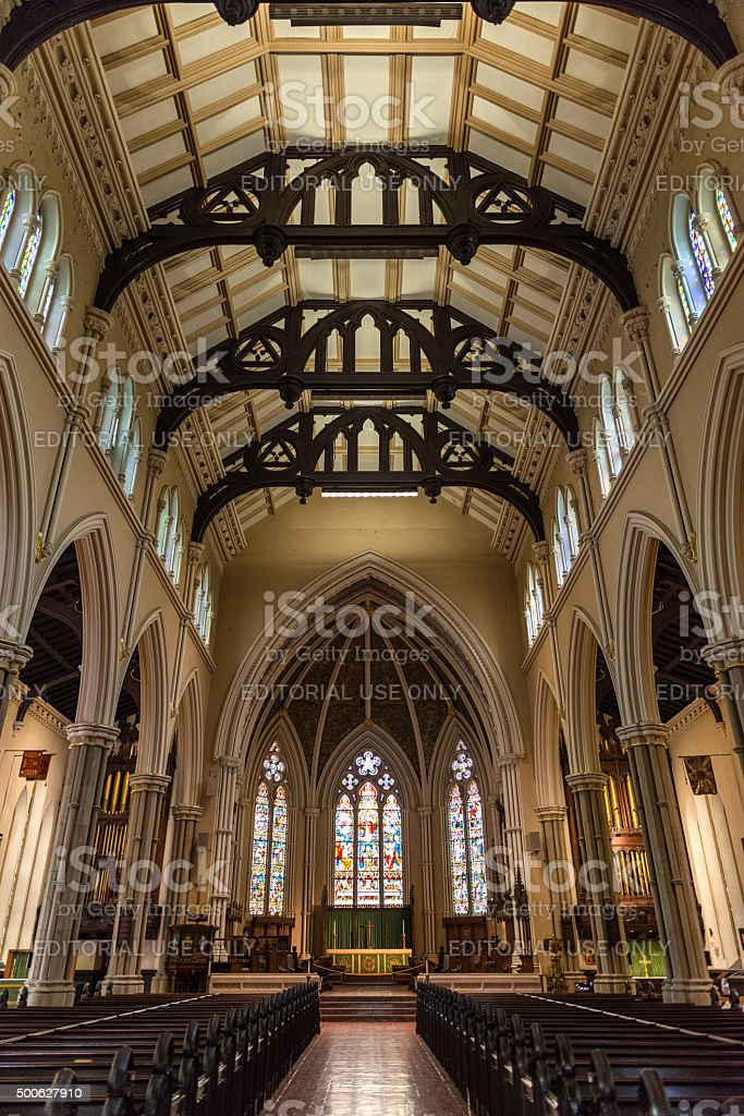 Inside St. James Cathedral in Toronto stock photo