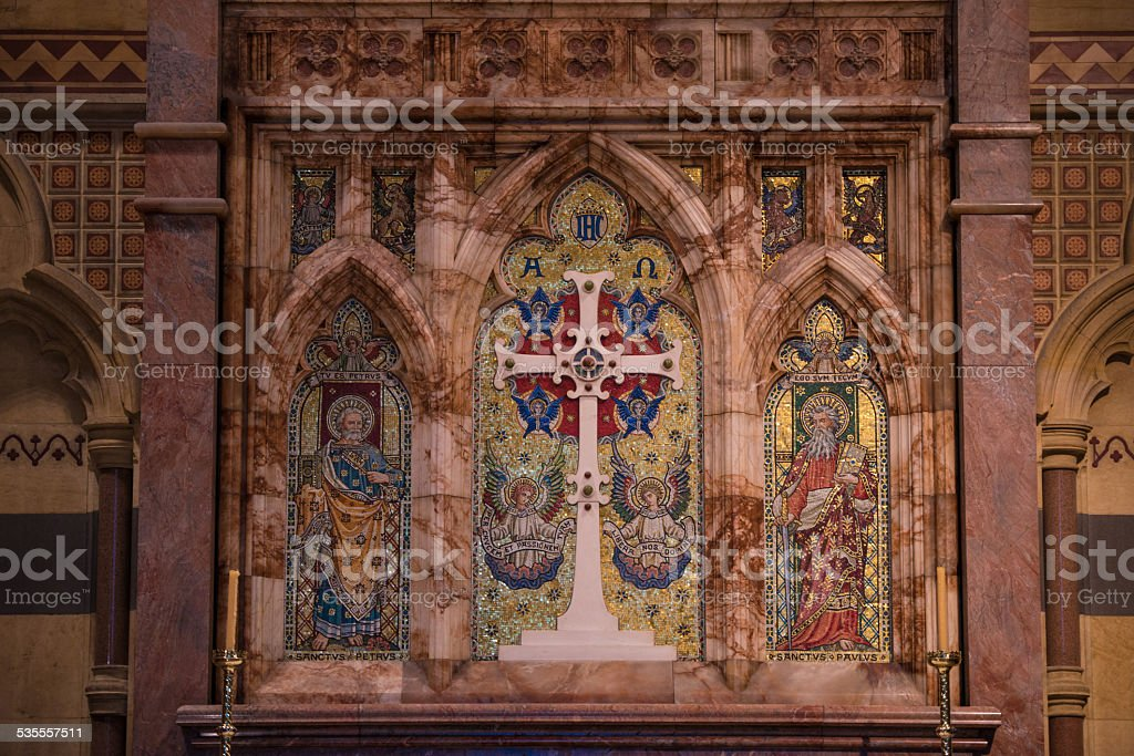 inside St Mary's Cathedral, Melbourne, New South Wales, Australia stock photo
