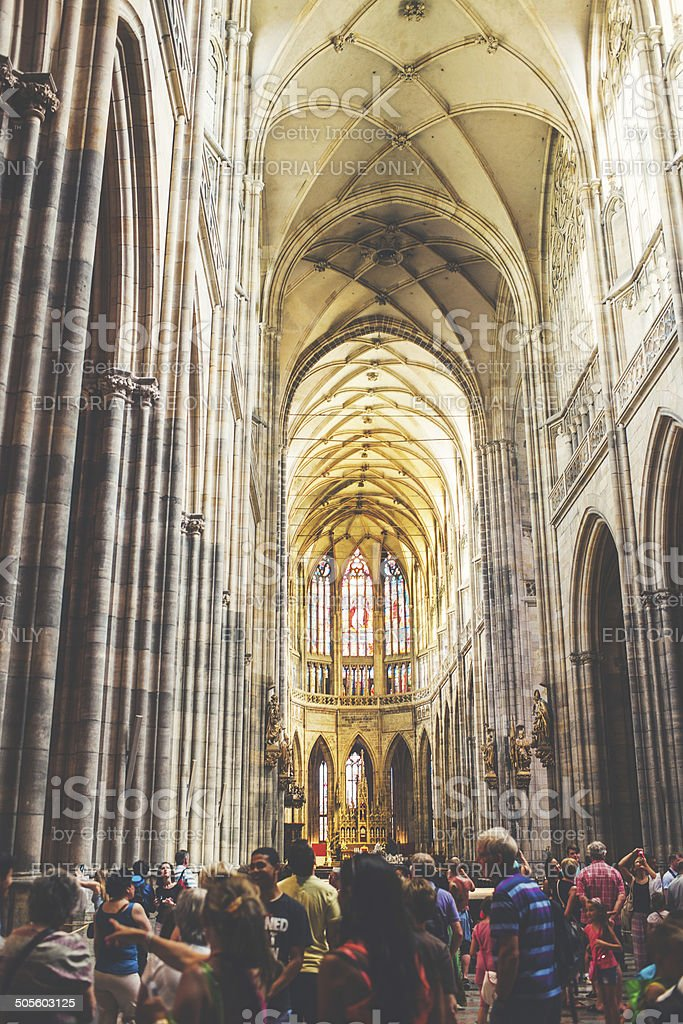 Inside St. Vitus Cathedral royalty-free stock photo