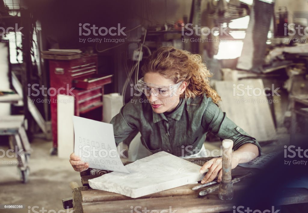 Inside Stonecutter's Workshop stock photo