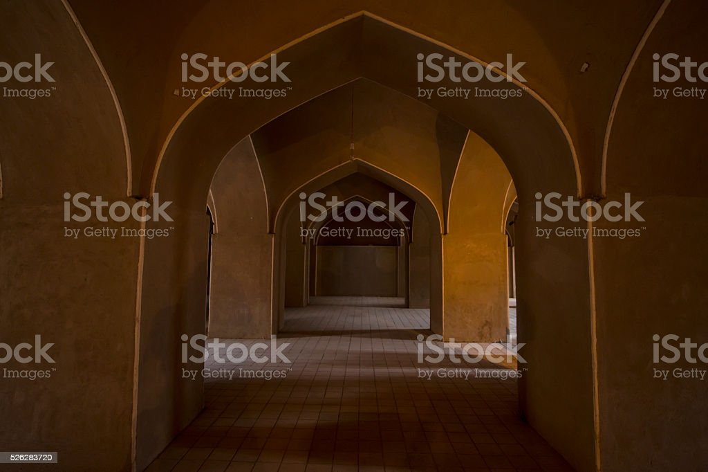 Inside the adobe castle of Rayen in Kerman province, Iran stock photo