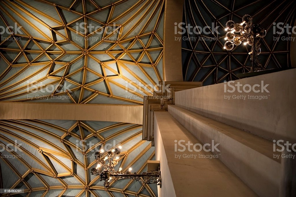 Inside the Basilica Cathedral of Lima, Peru. stock photo