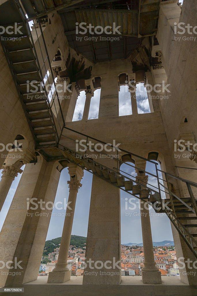 Inside the Bell Tower in Split stock photo