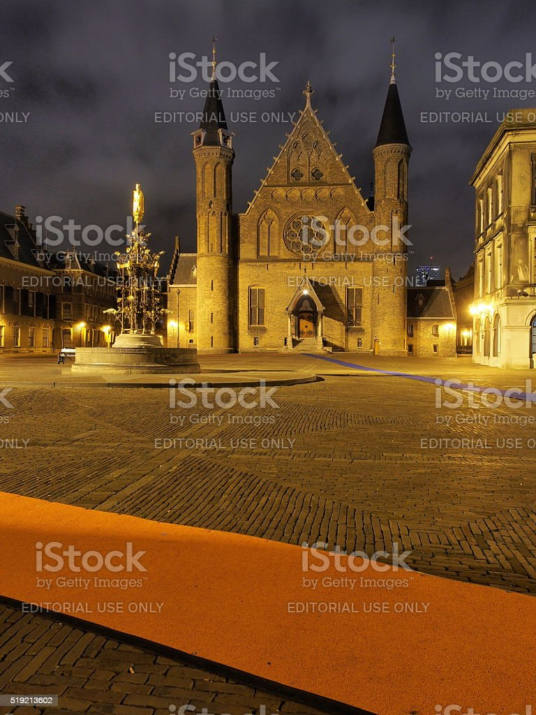 Inside the Binnenhof square,  offices of the Dutch government stock photo