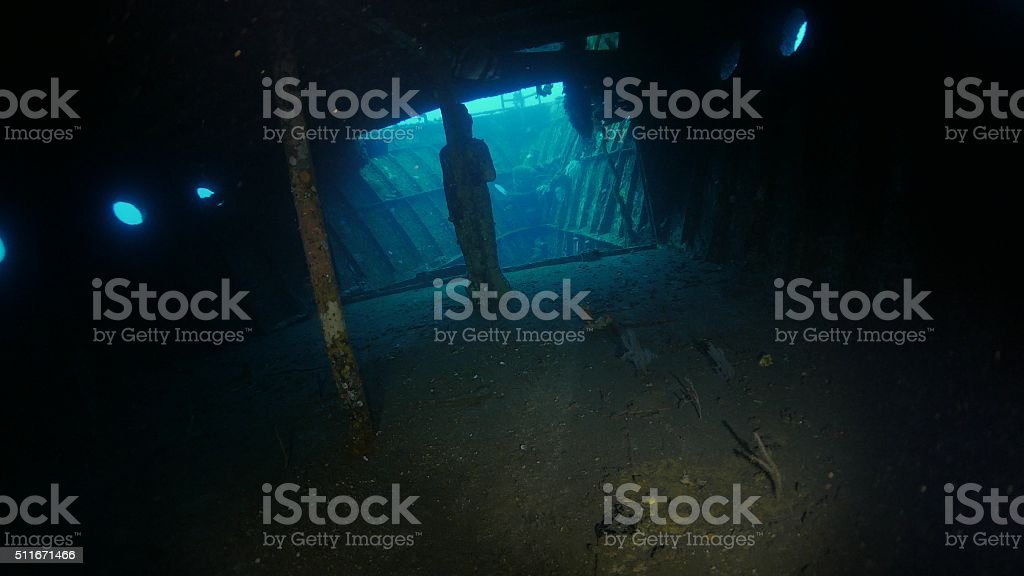 Inside the cabin of Boga Shipwreck underwater stock photo