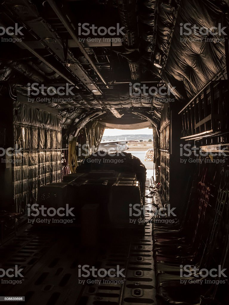 Inside the cargo plane stock photo