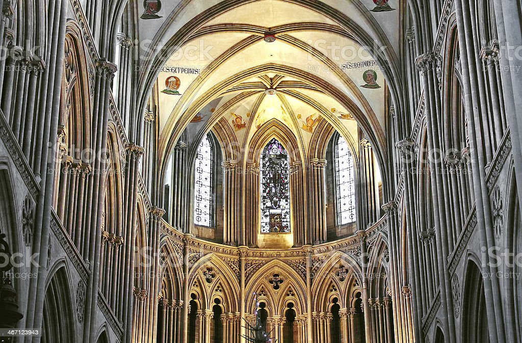 Inside the cathedral in Bayeux. Normandy. France stock photo
