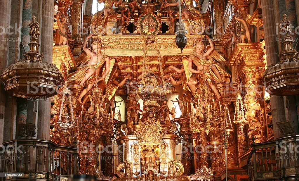 inside the cathedral - santiago stock photo