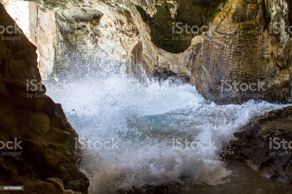 Inside the Cave of Neptune on Sardinia, Italy stock photo