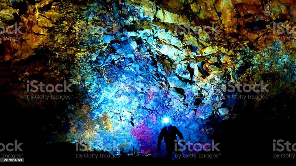 Inside the Cave of Volcano 'Thrihnukagigur' stock photo