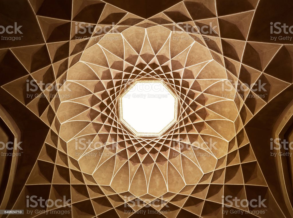 Inside the Ceiling Dome of Pavilion in Dowlat Abad Garden stock photo
