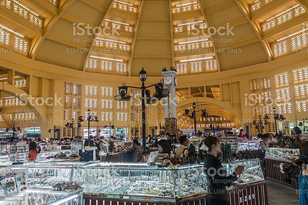Inside The Central Market In Phnom Penh Cambodia royalty-free stock photo