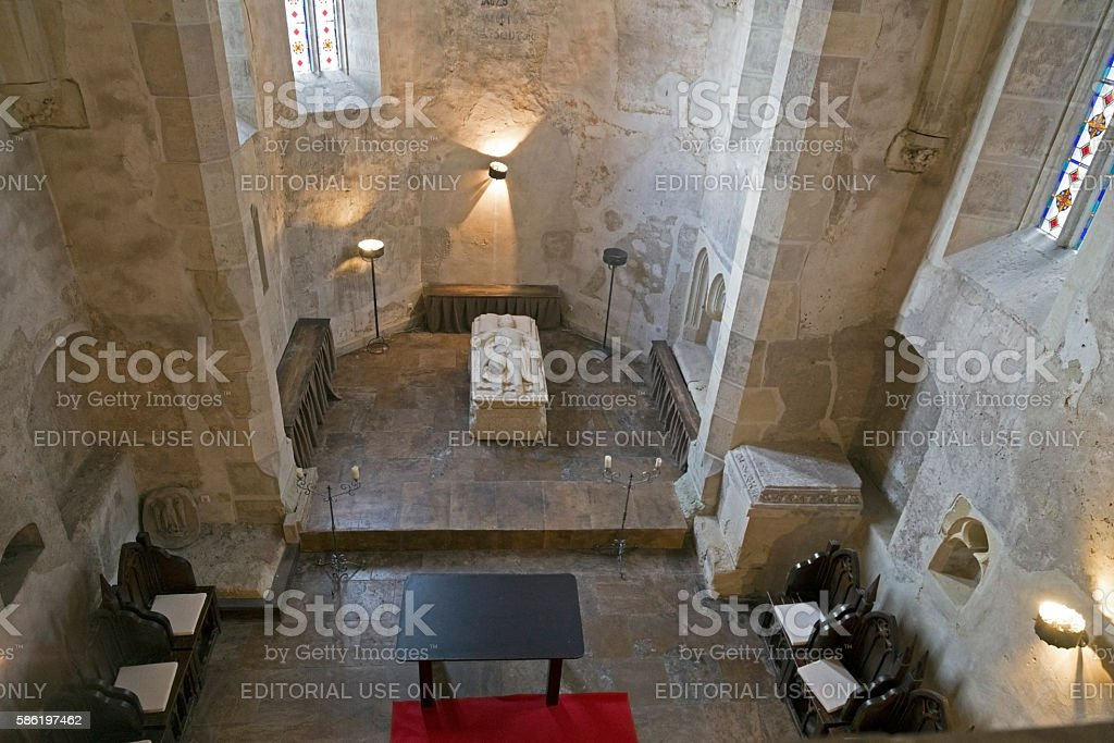 Inside the chapel of Corvin Castle in Hunedoara, Romania stock photo