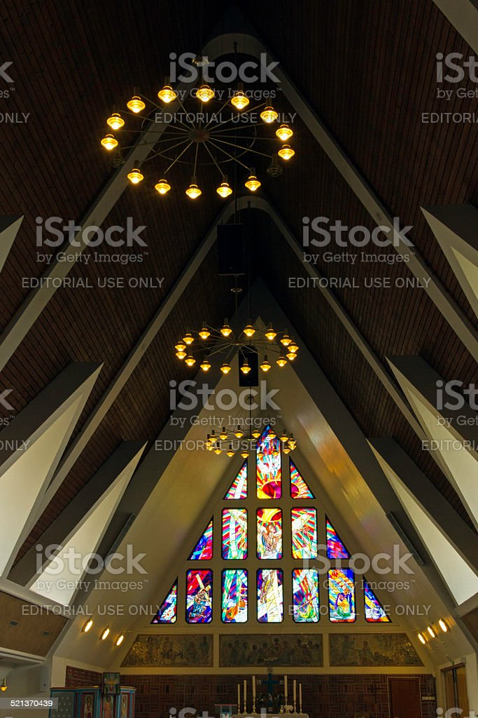 Inside the church in Hammerfest, Norway stock photo