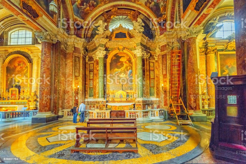 Inside the Church of St. Ignatius of Loyola at Campus Martius (Italian: Chiesa di Sant'Ignazio di Loyola in Campo Marzio. stock photo