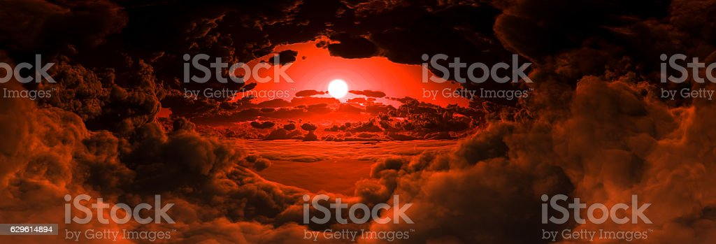 Inside The Clouds Panoramic View (Sunset) stock photo