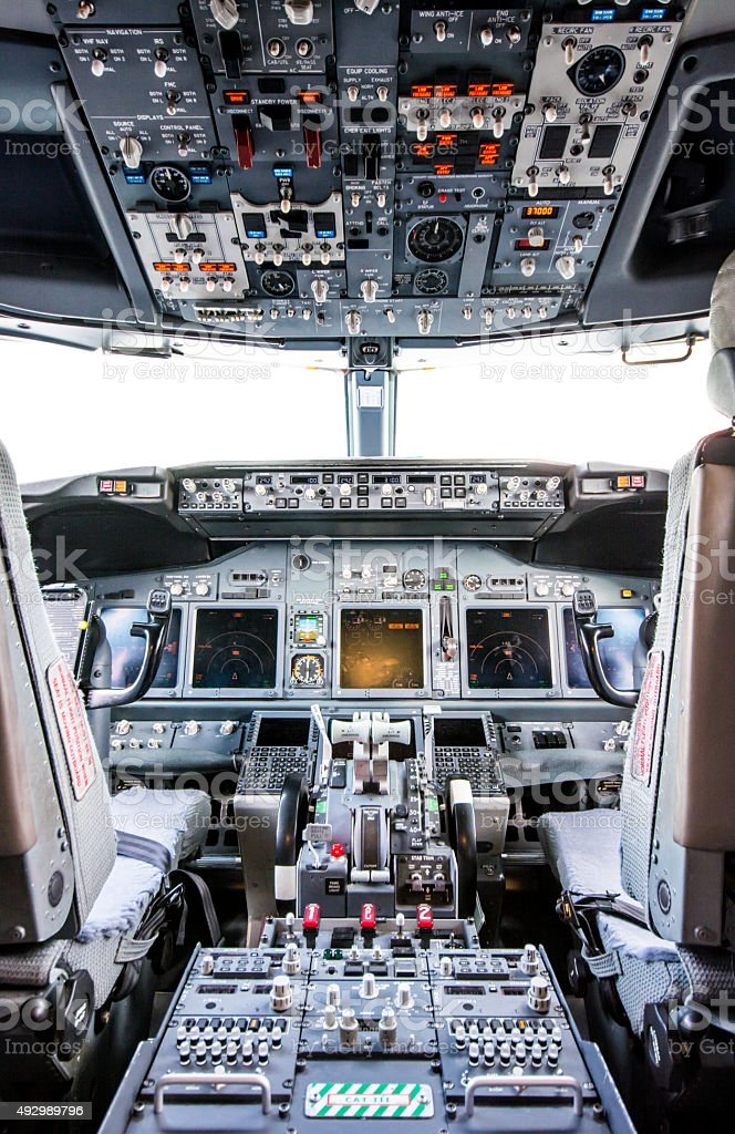 Inside the cockpit - Airplane Boeing 737 stock photo