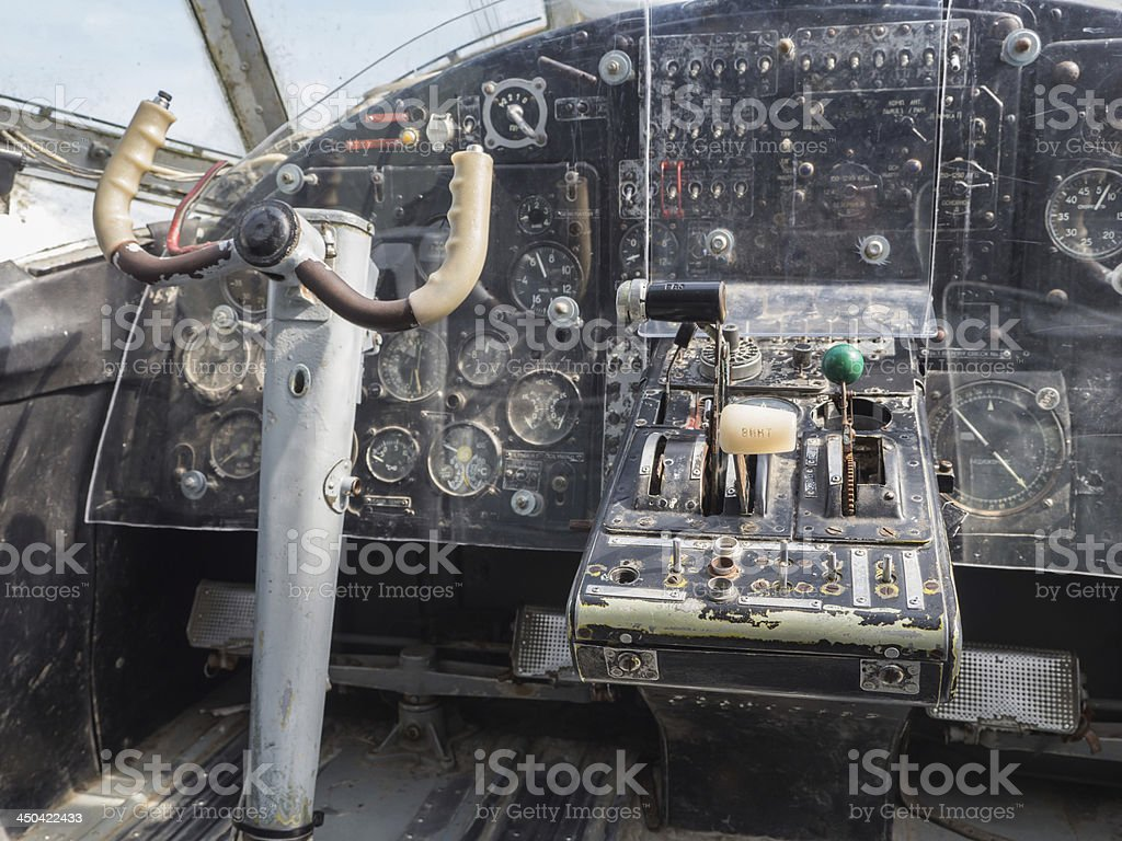 Inside the cockpit of a vintage small jet plane royalty-free stock photo