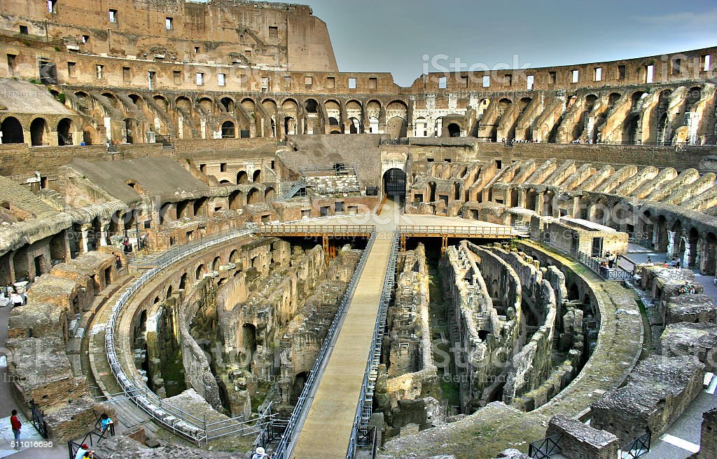 Inside the Coliseum HDR stock photo