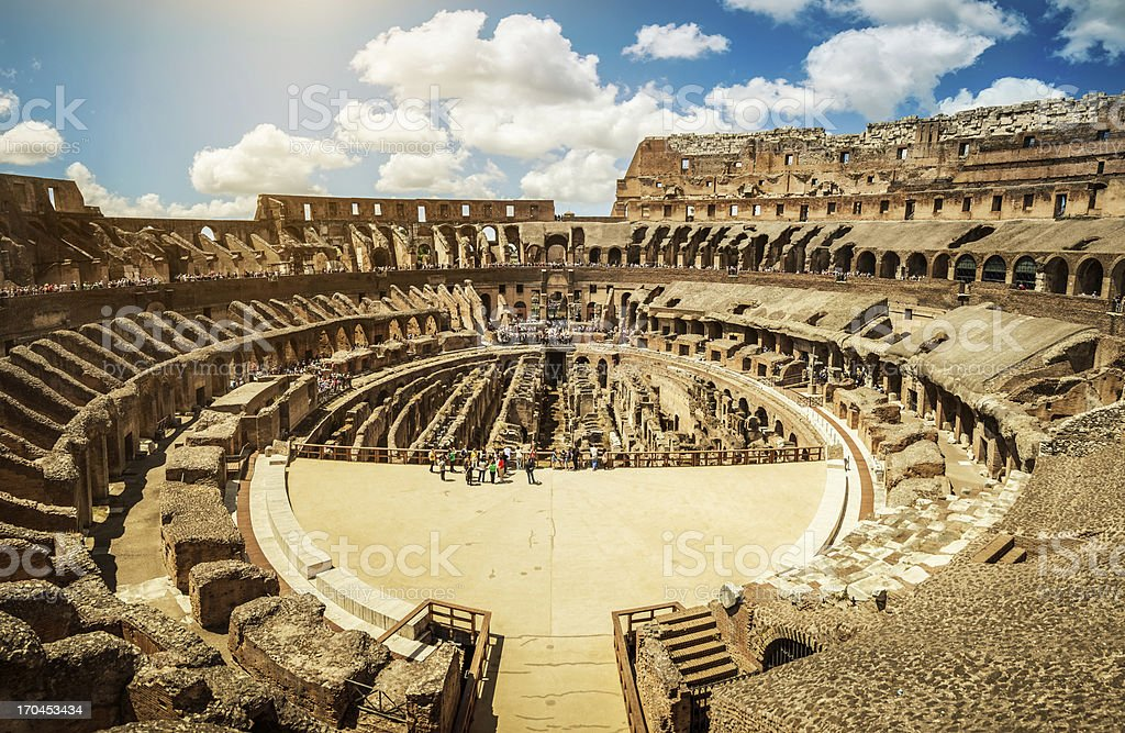 Inside the Coliseum of Rome stock photo