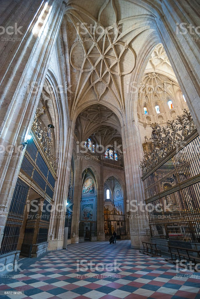 Inside the colossal Segovia Cathedral. stock photo